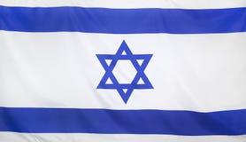 Israel Flag verkligt tyg Fotografering för Bildbyråer