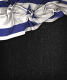 Israel Flag Vintage on a Grunge Black Chalkboard With Space For Stock Photo