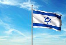 Israel flag waving with sky on background realistic 3d illustration. Israeli national flag realistic waving blue sky background 3d illustration stock illustration