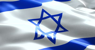Israel flag waving texture fabric background, crisis of jew and islam palestine, risk war stock video
