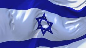 Israel Flag Waving in Wind Continuous Seamless Loop Background.