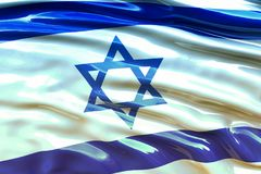 Israel flag. Wavy fabric high detailed texture. 3d illustration. Rendering Stock Images