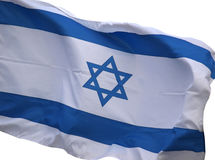Israel flag on a white. Stars and stripes on the Israel flag royalty free stock photos