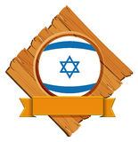 Israel flag on wooden board with banner Stock Image