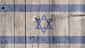 Israel Flag Wooden Fence. Israel Politics News Concept: Israeli Flag Wooden Fence stock image