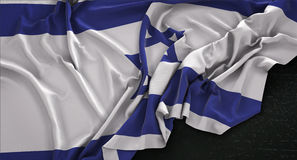 Israel Flag Wrinkled On Dark bakgrund 3D framför vektor illustrationer