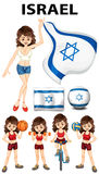 Israel flagga och kvinnaidrottsman nen Royaltyfri Foto