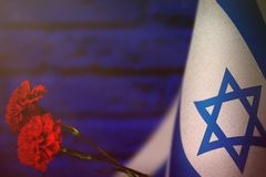 Israel-Flagge für Ehre des Veteranentages oder -Volkstrauertags mit zwei roten Gartennelkenblumen Ruhm zu den Israel-Helden von K lizenzfreie stockfotos