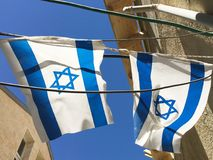 Israel flags in Jerusalem Stock Photography