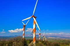 Several huge  windmills Royalty Free Stock Photography