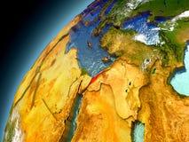 Israel från omlopp av modellen Earth Arkivbilder