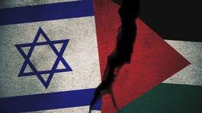 Israel gegen Palästina-Flaggen auf gebrochener Wand stockbild