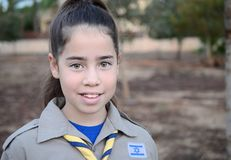 Israel Girl Scout on the way to summer camp Stock Photo