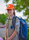 An Israel Girl Scout on the way to summer camp. A smiling Israel Girl Scout on the way to summer camp Royalty Free Stock Image
