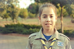 Israel Girl Scout on the way to summer camp (vintage) Royalty Free Stock Photo
