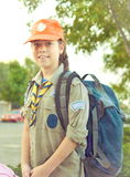 Israel Girl Scout on the way to summer camp (vintage) Royalty Free Stock Photos