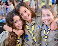 Israel Girl Scouts on the way to summer camp. Excited Israel Girl Scouts on the way to summer camp in Kfar Saba, Israel Royalty Free Stock Photos