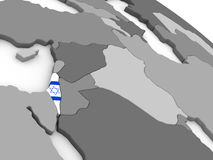 Israel on globe with flag Stock Image