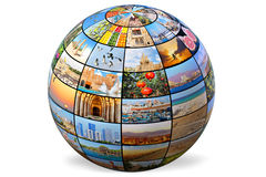 Israel globe. Isolated on the white background (The globe is made of my photos royalty free stock photo