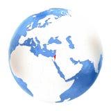 Israel on globe isolated on white Stock Photo