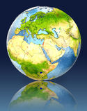 Israel on globe with reflection. Illustration with detailed planet surface. Elements of this image furnished by NASA Royalty Free Stock Photos