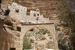 Israel. Greek Christian orthodox monastery of St. George, alog the canyon of Wadi Qelt, Israel. St. George Orthodox Monastery, or Monastery of St. George of Stock Images