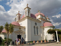 Israel. The Greek church of the Cathedral of Twelve Apostles in stock photography