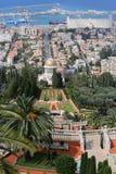 05.02.2016. Israel, Haifa. Bahai Gardens The Baha`i Temple. Mount Carmel. Bahai Gardens The Baha`i Temple. Mount Carmel. View from the top of the temple of stock images