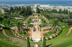 Israel. Haifa. Bahai Gardens. View of the terrace and the city of Haifa. stock photography