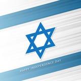 Israel Happy Independence Day feiern Karte mit israelischem Staatsflaggehintergrund und Davidsstern Lizenzfreies Stockfoto