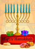Israel Holiday for Festival of Light Happy Hanukkah celebration background Royalty Free Stock Images