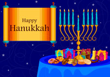 Israel Holiday for Festival of Light Happy Hanukkah celebration background Royalty Free Stock Photography