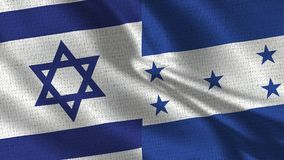 Israel and Honduras Flag - Two Flags Together. Realistic wave with flags royalty free stock image