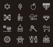 Israel icons. White outline icons relating to Israel on black background Royalty Free Stock Photography