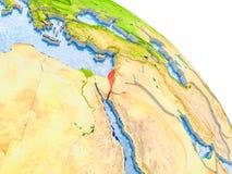 Israel im roten Modell von Erde Stockbilder