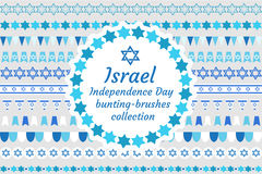 Israel Independence Day bunting-brushes collection. Jewish holiday brush, border, flag, ornament set. Vector. Illustration vector illustration
