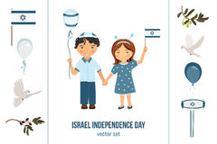 Israel independence day clipart set Stock Photos