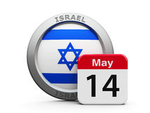 Israel Independence Day. Emblem of Israel with calendar button - The Fourteenth of May - represents the Israel independence day, three-dimensional rendering, 3D Stock Image