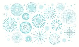 Israel Independence Day fireworks background. Israel Independence Day background with blue fireworks, confetti. Isolated objects on white. Vector illustration royalty free illustration