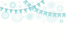 Israel Independence Day fireworks, bunting background. Israel Independence Day background with blue fireworks, confetti, bunting. Isolated objects on white stock illustration