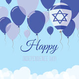 Israel Independence Day Flat Greeting kort Arkivbilder
