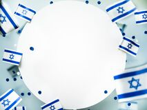 Free Israel. Independence Day. National Flag On A White Foggy Background. The Concept Of Freedom, Memory And Patriotism Royalty Free Stock Photo - 214958085