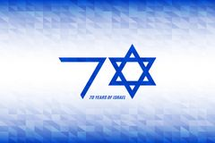 Israel Independence Day. 70 years of Israel banner. Flag colors on blue white geometric background. Vector illustration. Israel Independence Day. 70 years of Stock Images