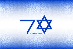 Israel Independence Day. 70 years of Israel. Flag Israel colors on blue white pixel background. Vector illustration stock illustration