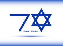Israel Independence Day. 70 years of Israel banner. Flag Israel blue colors on white background. Vector illustration. Israel Independence Day. 70 years of Israel Royalty Free Stock Photos