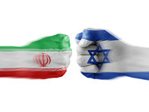 Israel & Iran - disagreement. Israel and Iran - boxing fists Royalty Free Stock Photo