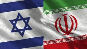 Israel and Iran Flag - Two Flags Together. Realistic wave with flags stock photo