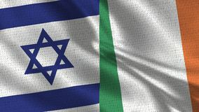 Israel and Ireland Flag - Two Flags Together. Realistic wave with flags stock images