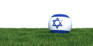 Israel Israeli flag soccer ball lying in grass world cup 2018. Isolated on white background. 3D Rendering, Illustration Royalty Free Stock Image