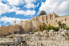 Israel, Jerusalén April Al-Aqsa Mosque 4, 2015 Foto de archivo